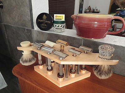 The Carrier Shave Stand for 9 Safety Razors and two Brushes