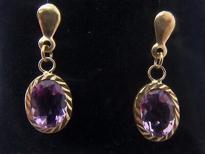 375 9ct Yellow Gold Oval Shaped Amethyst Earring's