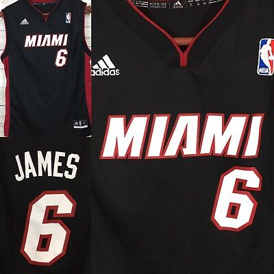 super popular a66e3 efe73 ADIDAS YOUTH L Miami Heat Black #6 Lebron James Jersey