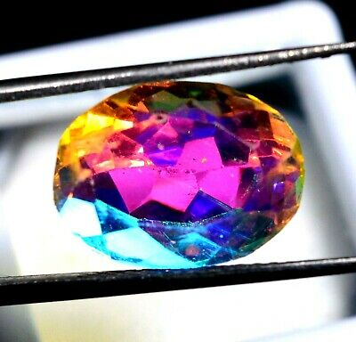 8.90 Ct Natural Rainbow Color Mystic Quarz Zertifizierter Edelstein ZERTIFIZIER