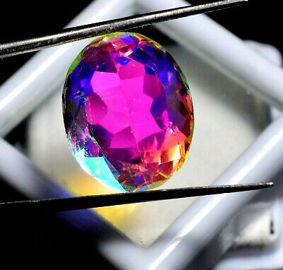 10.80 Ct Natural Rainbow Color Mystic Quarz Zertifizierter Edelstein ZERTIFIZIER