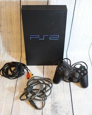 Sony PlayStation 2 Fat PS2 Black Console Complete Bundle Parts or Repair