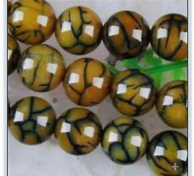 """6mm~14mm Yellow Dragon Veins Agate Round Loose Beads Gems 14 """""""