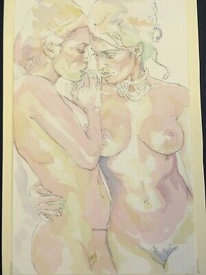 2 Nudes.Original Painting. Naked Women Embracing. Delicate,Feminine. Gently Sexy