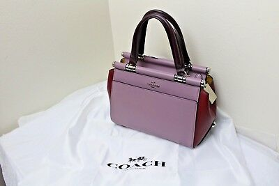 d7e12e614d9ab NWT COACH 31919 Leather Grace 20 Colorblock Satchel Crossbody Purple ...