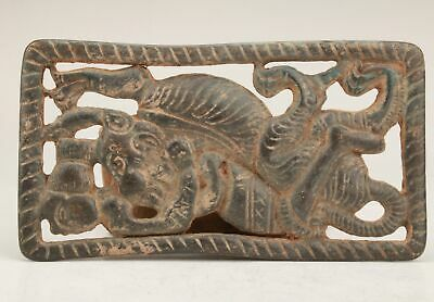 RARE CHINESE BRONZE HAND CARVING TIGER ANIMAL STATUE OLD Belt Buckle