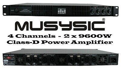 MUSYSIC Professional 4-Channels 2x9600 Watts D-Class 1U Power Amplifier MU-D9600