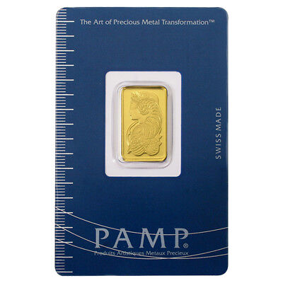 5 Gram Pamp Suisse Gold Fortuna Bar .9999 Fine in Assay Card