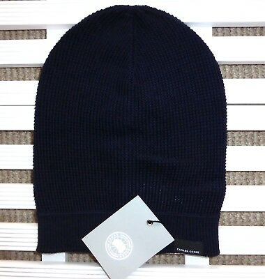 Genuine CANADA GOOSE Navy MERINO WOOL Waffle SLOUCHY BEANIE Toque Hat Tags