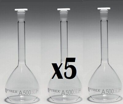 Pyrex 3151/14 Stoppered Volumetric Flask, 100 mL, Class A (Pack of 5) 100ml New