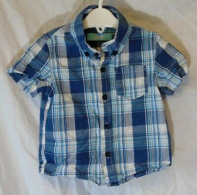 Baby Boys Primark Blue White Check Short Sleeve Casual Shirt Age 12-18 Months