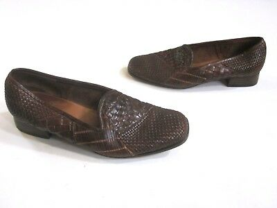 46fb67d32a1 Sesto Meucci Womens Loafers Shoes Brown Woven Leather Braided Size 8.5 M  (A03)