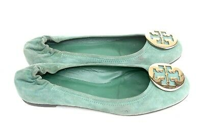 00f6fd0b6aa Tory Burch Reva Green Suede Leather Gold Logo Toe Ballet Flats Shoes SZ 8.5M