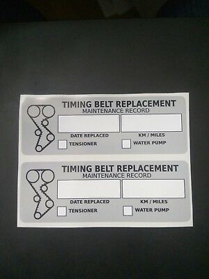 3) TIMING BELT REPLACEMENT STICKER DECAL 3 5