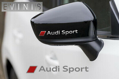 AUDI SPORT SILVER/RED VINYL SYMBOL MIRROR DECALS STICKERS GRAPHICS x2