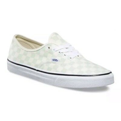 50dc4cdec188a5 Vans authentic checker green ivory sneaker shoes men size 8.5 woman size 10  new