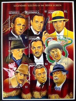 1996 Mnh Dominica Legendary Sleuths Of The Silver Screen Stamps Sheet James Bond