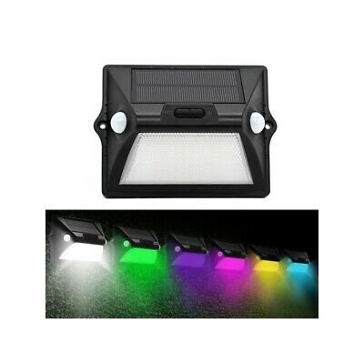 Solar Power Dual PIR Sensor Head Wall Light 12 LED RGBW Colorful Waterproof IP55