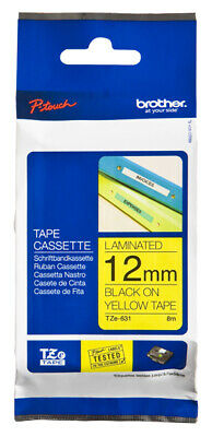 Brother TZE631  label-making tape 12 mm Gloss Black on Yellow