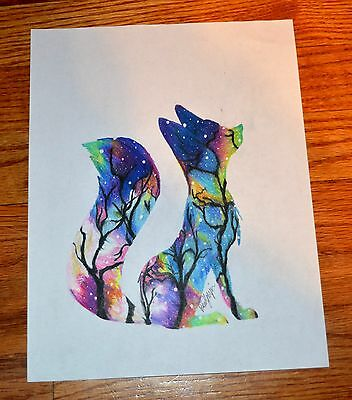 2017 Original Colored Pencil Drawing On Paper FOX ASTRACT By Brianna Myzia