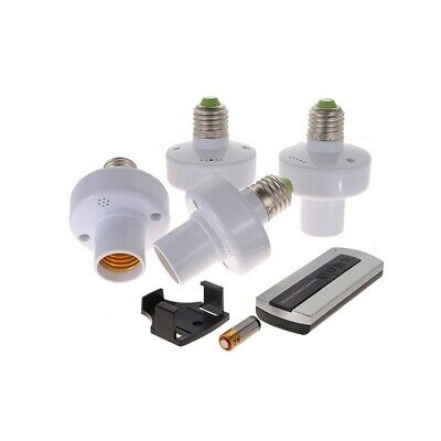 E27 Wireless Remote Control Lamp Holders Set White