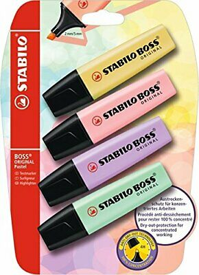 Highlighter - STABILO BOSS ORIGINAL Pastel Pack of 4 Assorted Colours