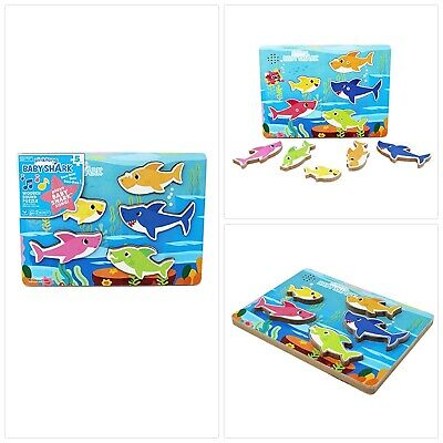 b5a3d2834 Cardinal Industries 6053347 Pinkfong Baby Shark Chunky Wooden Sound Puzzle  - Pla