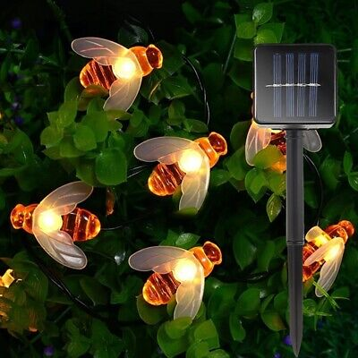 7M Solar Powered 50 LED Waterproof Honey Bee String Light Hanging Warm White Lam