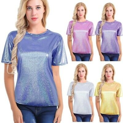 Womens Shiny Short Sleeve T-Shirt Casual Loose Blouse Tee Tops Summer Clubwear