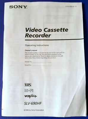 Sony Slv-690Hf Vhs Vcr Player Owner's Manual