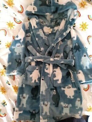 Hatley Dressing Gown Blue with Cute Snow Monsters Age 4-5yrs medium super cosy