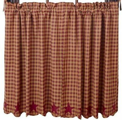 Burgundy Star Lined Tiers Curtains 72WX24L Scalloped Khaki Check VHC BRANDS