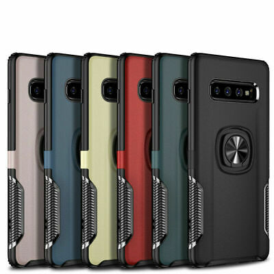 Hybrid Rugged Ring Stand Shockproof Armor Case For Samsung Galaxy S10 Plus S10e