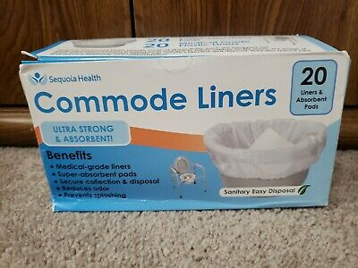 NEW BOX DMG Commode Liners (20 Count) - Extra Strength Sanitary Liner Bags FS