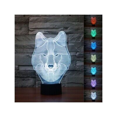 3D Animal Wolf Touch Control Table Lamp 7 Color Changing LED Night Light Home De