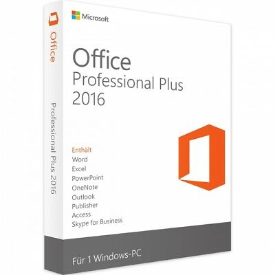 Microsoft® Office 2016 Professional Plus Lizenz + GRATIS Installation DVD