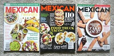 """Lot of 3 """"MEXICAN"""" Magazines ~ Favorite Authentic Recipes ~Tacos ~Burritos ~ NEW"""
