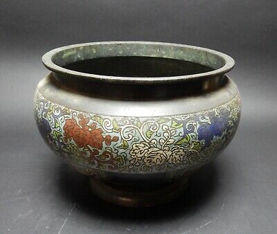 Gorgeous Antique Meji Period Japanese  cloisonne vase/ Jardiniere 12.5  inches