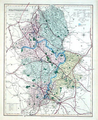 STAFFORDSHIRE, Walker Hand Coloured Antique County Railway Map ,  1877