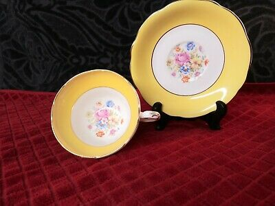Foley Tea Cup and Saucer Set, york yellow with floral bouquet