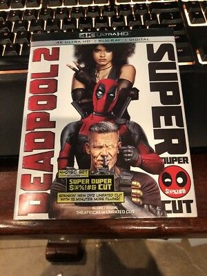 Deadpool 2 Super Duper Cut (4K Ultra HD + Blu-Ray + Digital Code) NEW SEALED