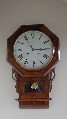 Antique School Octagonal case, Round Dial Wall Clock with chime. Fully working.