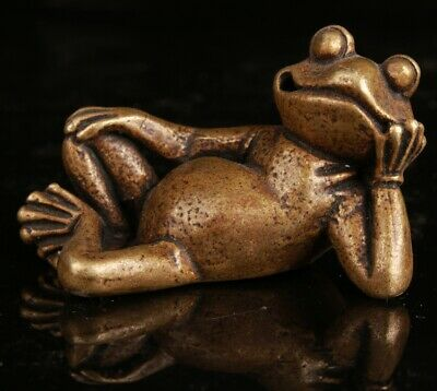 Chinese Bronze Hand Carving Frog Statue Collection Decorative Gift