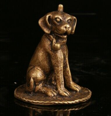 Chinese Bronze Hand Carving Dog Statue Collection Decorative Gift