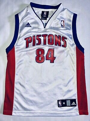 finest selection 137c6 259c5 CHRIS WEBBER DETROIT Pistons #84 Adidas White NBA Basketball Jersey Youth  Medium