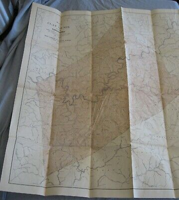 Very Large 1917 Topography Map of Clay County West Virginia Very Good Condition