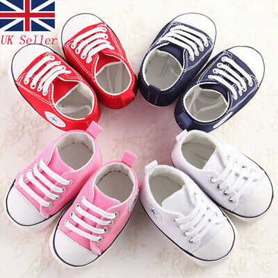 UK Fasion Newborn Baby Boy Girl Soft Sole White Pram Shoes Trainers White Canvas