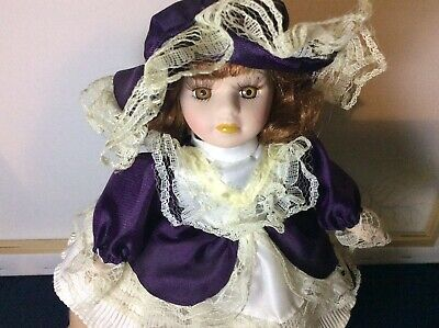 Small Red Hair Purple Dress Vintage Porcelain Girl Doll