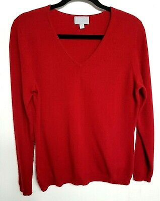 Pure Collection 100% Cashmere Womens Jumper Sweater M Uk12-14 Red