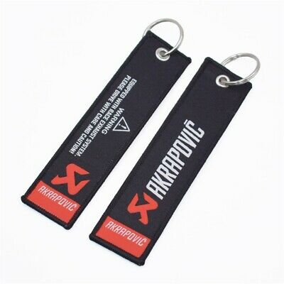 AKRAPOVIC Keychain Embroidered Fabric Strap Keyring Motorcycle Key Chain Free